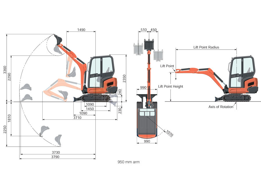 KUBOTA KX015.4  -  1.5 Ton Mini Excavator Detail View