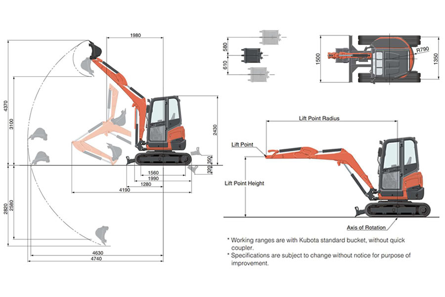 Kubota U27.4 - 2.6 Ton Mini Excavator Detail View